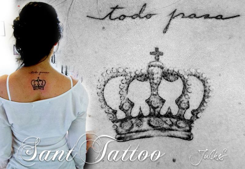 Small crown tattoo on upper back 3