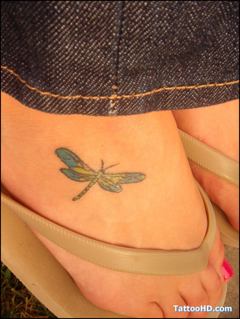 943f67bd4a70d Small dragonfly tattoo on foot - Tattoos Book - 65.000 Tattoos Designs