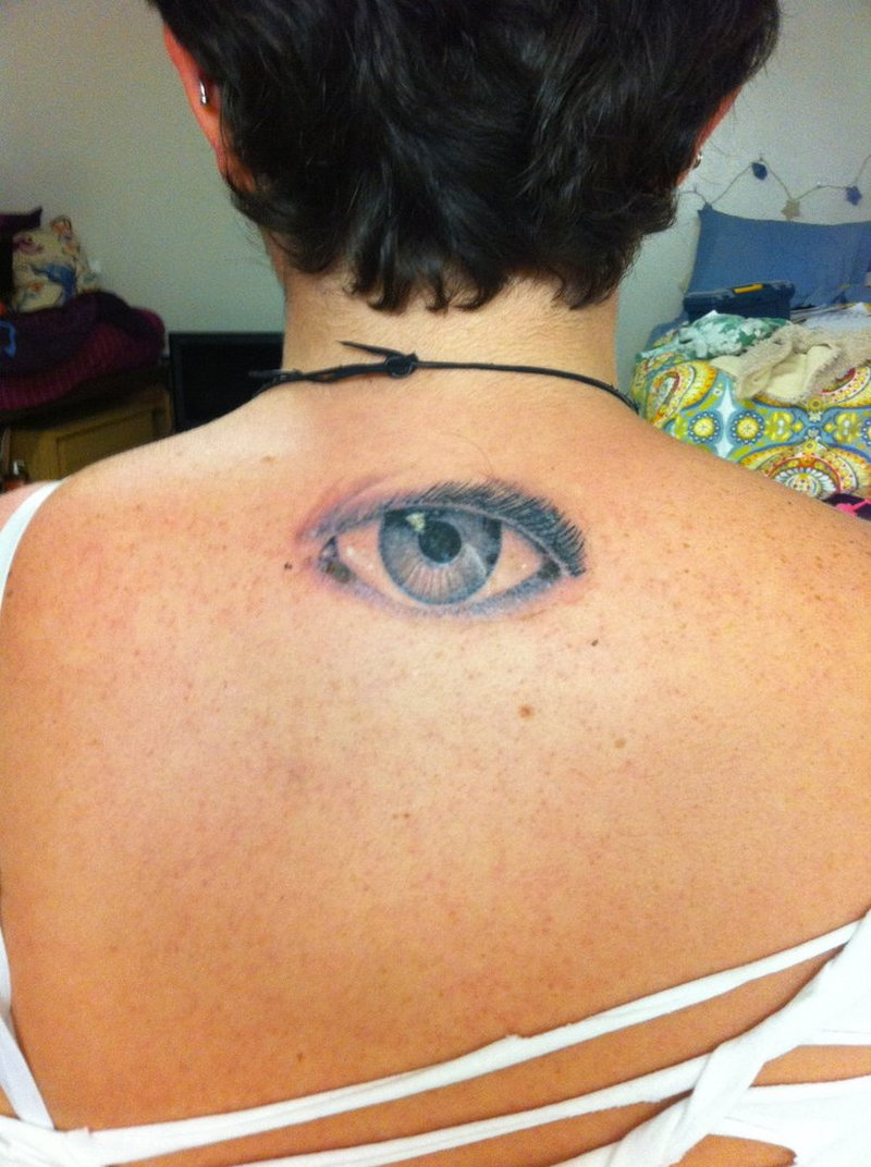 Small eye tattoo on upper back tattoos book for Small eye tattoo