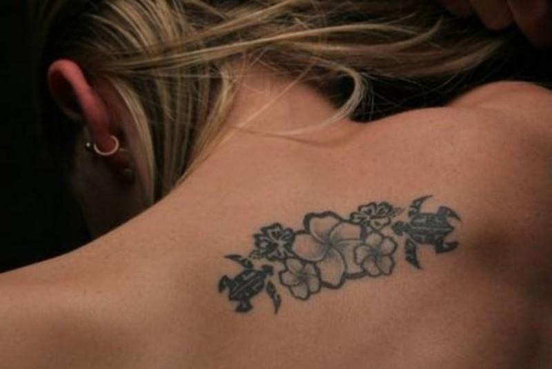 Small Hawaiian Flowers Tattoo On Upper Back Tattoos Book 65 000