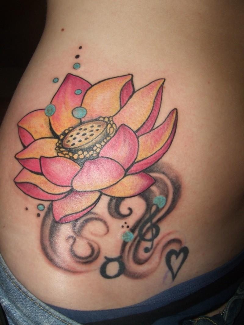 Small Pink Lotus Flower Tattoo On Ribs Tattoos Book 65000