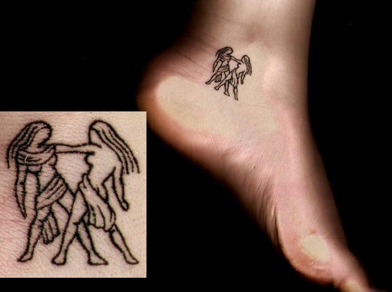 Small zodiac gemini tattoo on ankle tattoos book 65 for Gemini and cancer tattoo