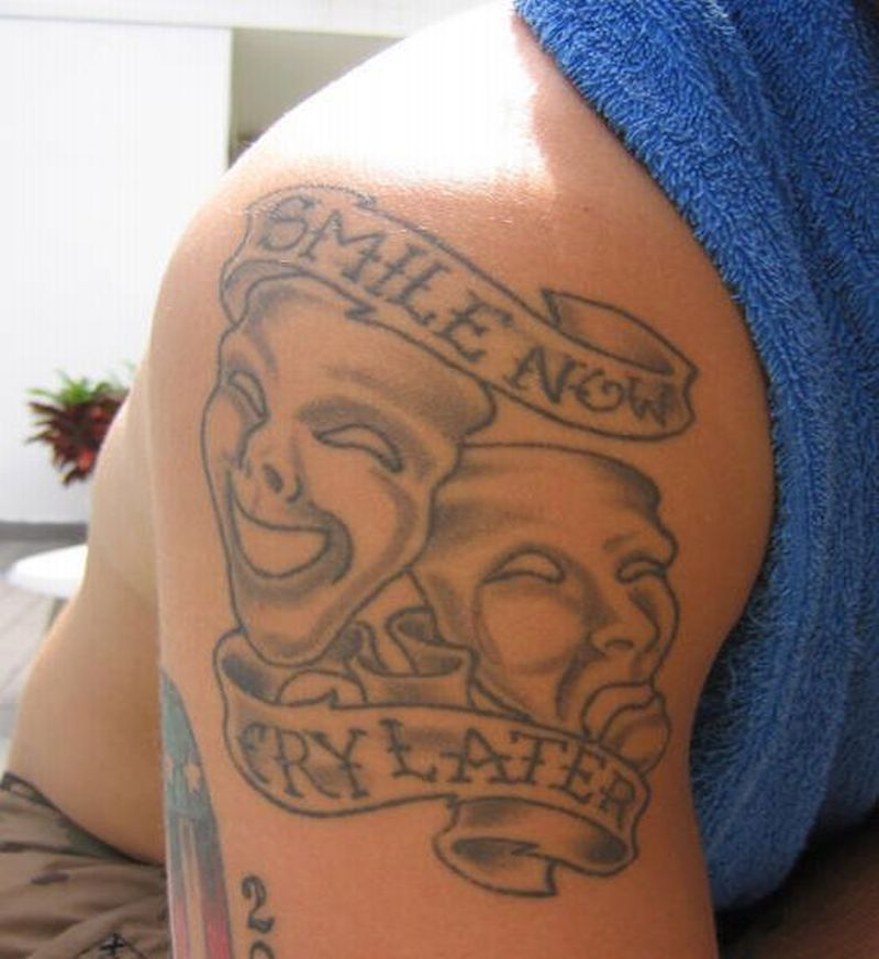 88524f57c Smile now cry later clown tattoo on shoulder 3 · Clown tattoos