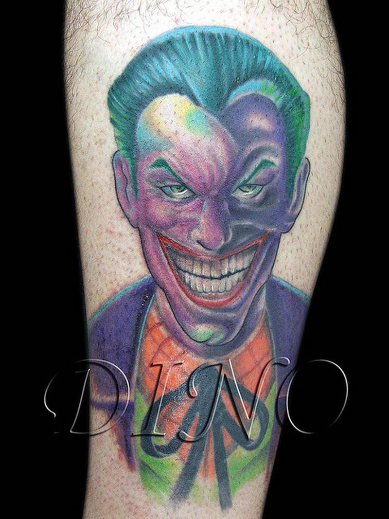 Smiling joker tattoo design