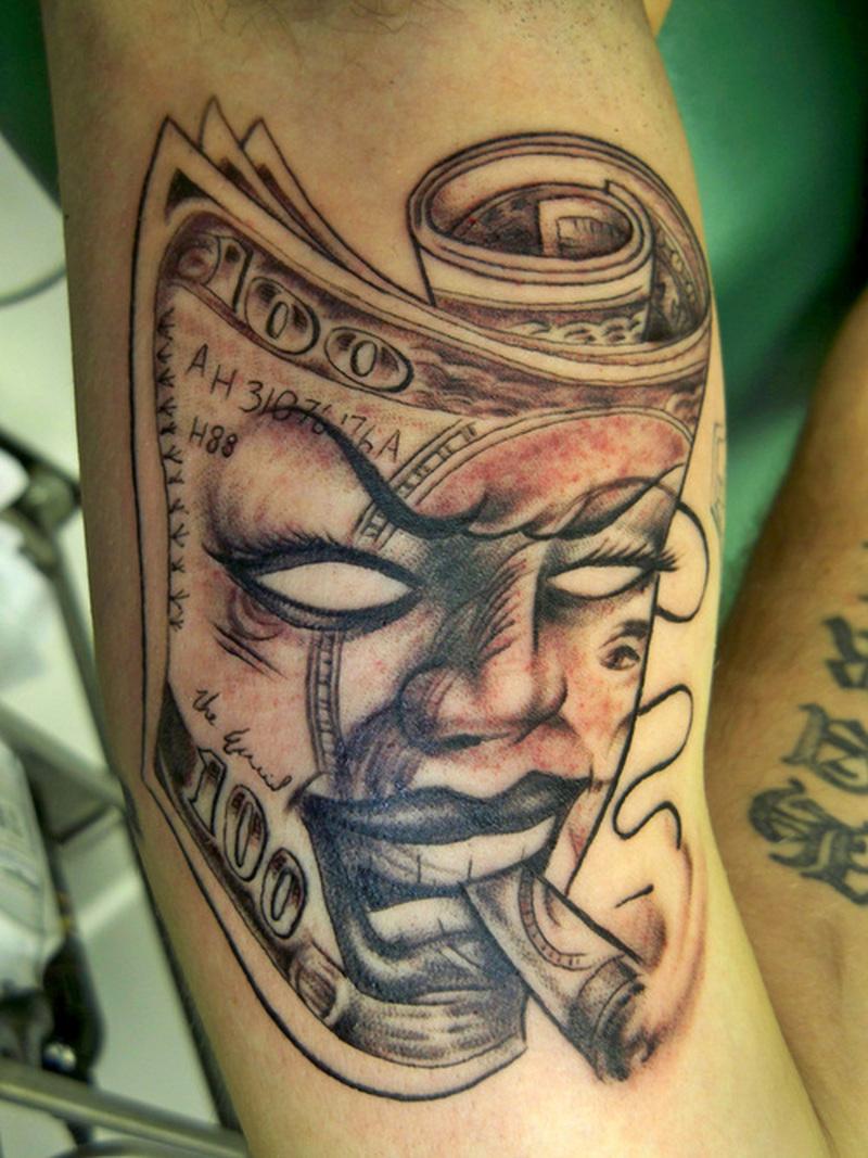Smoking joker mask tattoo design