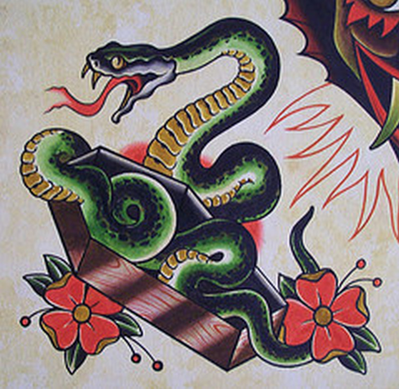Snake coffin tattoo design