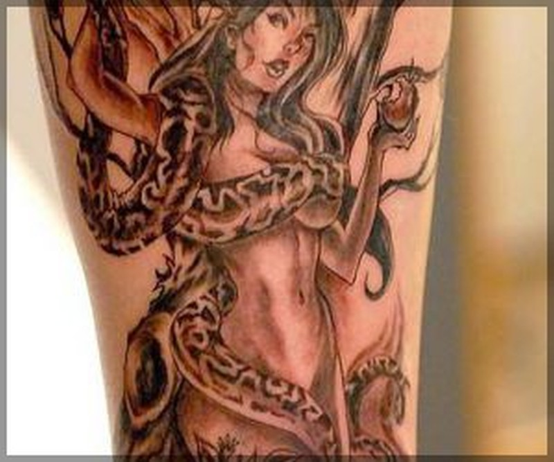 Snake cover lady with poison apple tattoo design