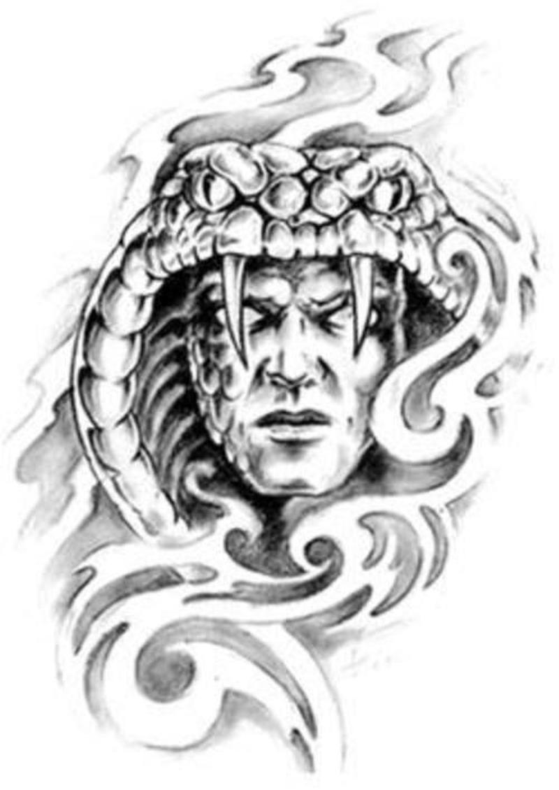 snake head demon tattoo design tattoos book tattoos designs. Black Bedroom Furniture Sets. Home Design Ideas