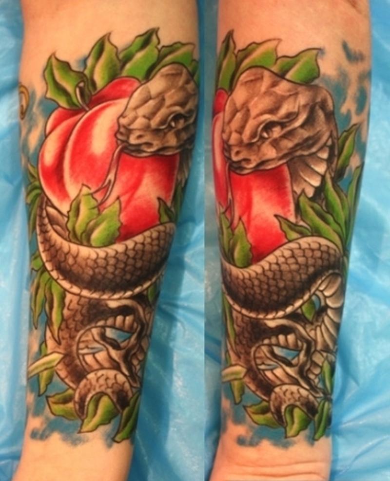 Snake n apple fantasy tattoo design