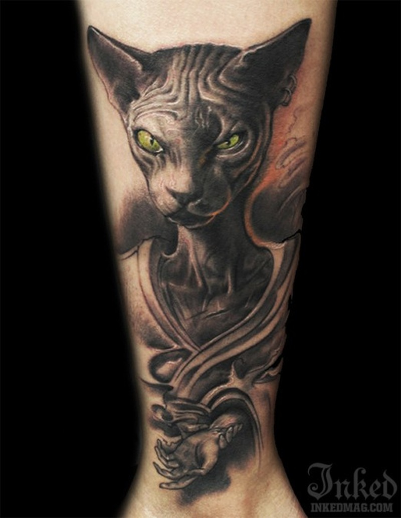 Sphinx cat with green eyes tattoo by littledragon for Little dragon tattoo