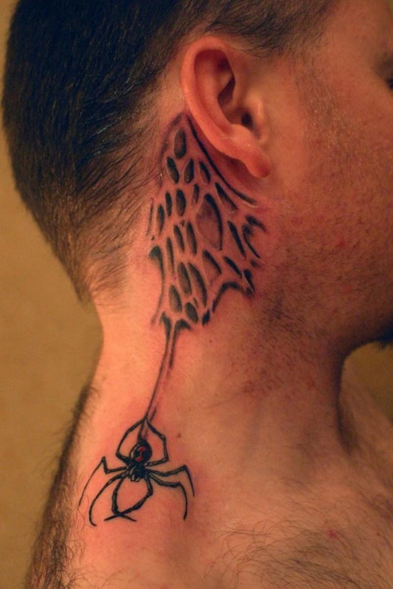 Spider back ear tattoo design