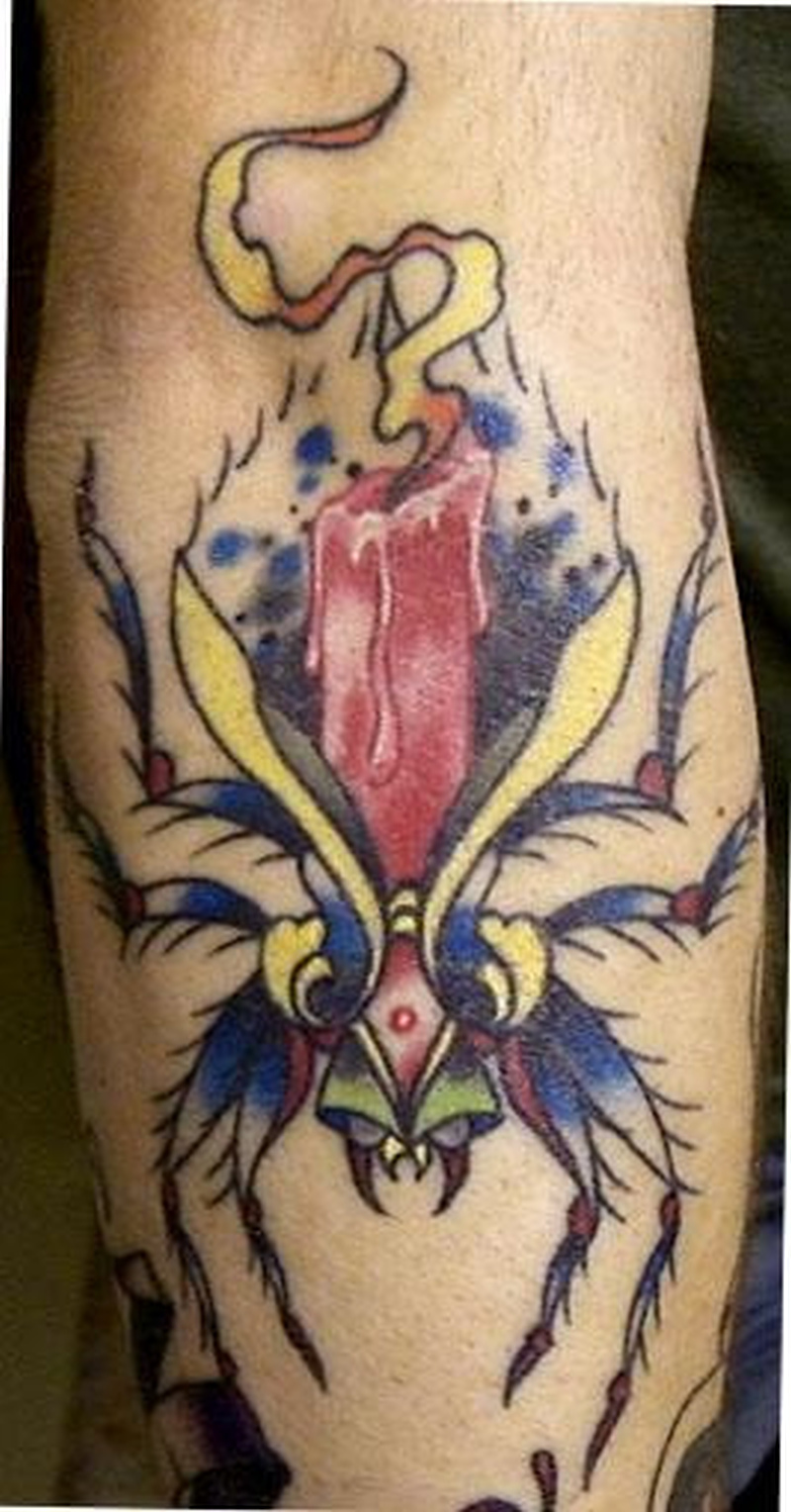 Spider candle tattoo