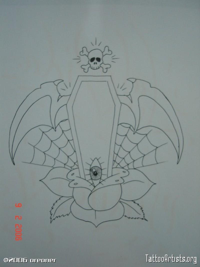 Spider coffin tattoo image