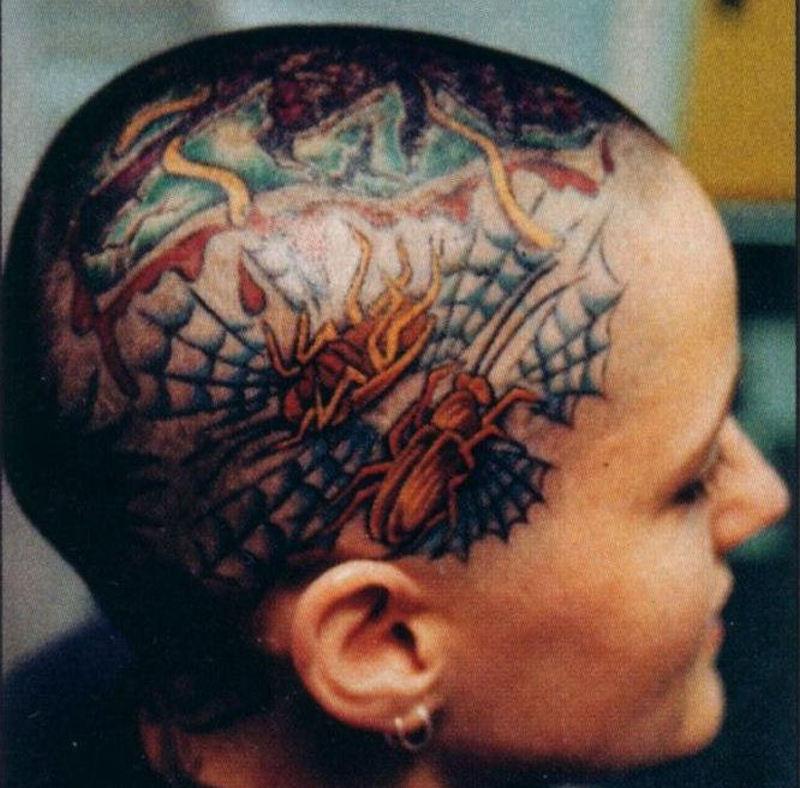 Spider web head tattoo design