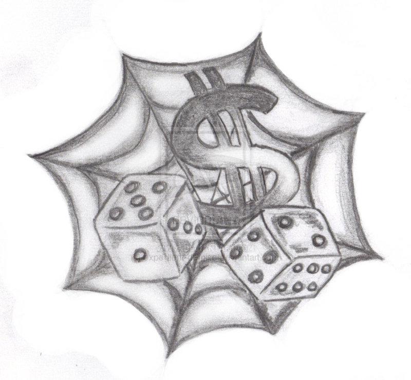 Spider web n dice tattoo design