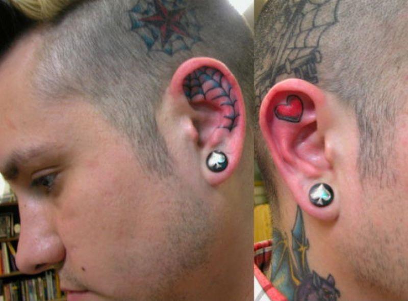 Spider web n heart tattoo in ear