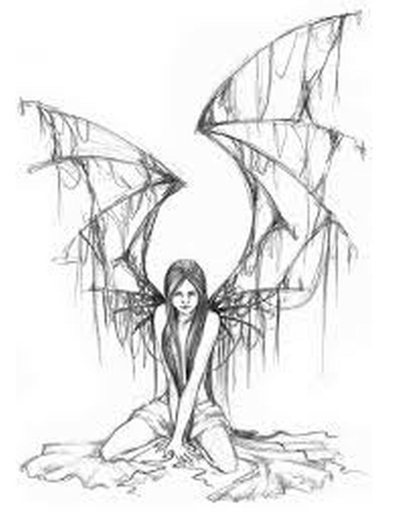 Spider winged angel tattoo design
