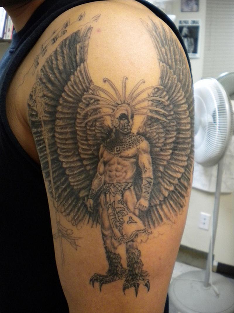 adb34f4a4 Standing aztec warrior tattoo design - Tattoos Book - 65.000 Tattoos ...