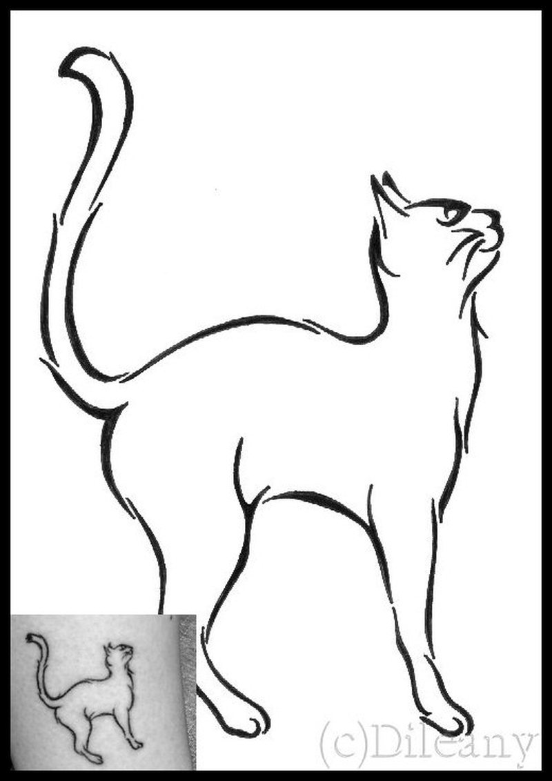 Standing cat tattoo picture