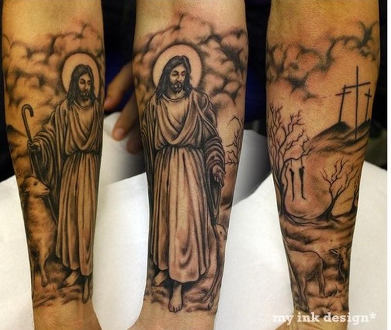 standing jesus tattoo on forearm tattoos book tattoos designs. Black Bedroom Furniture Sets. Home Design Ideas
