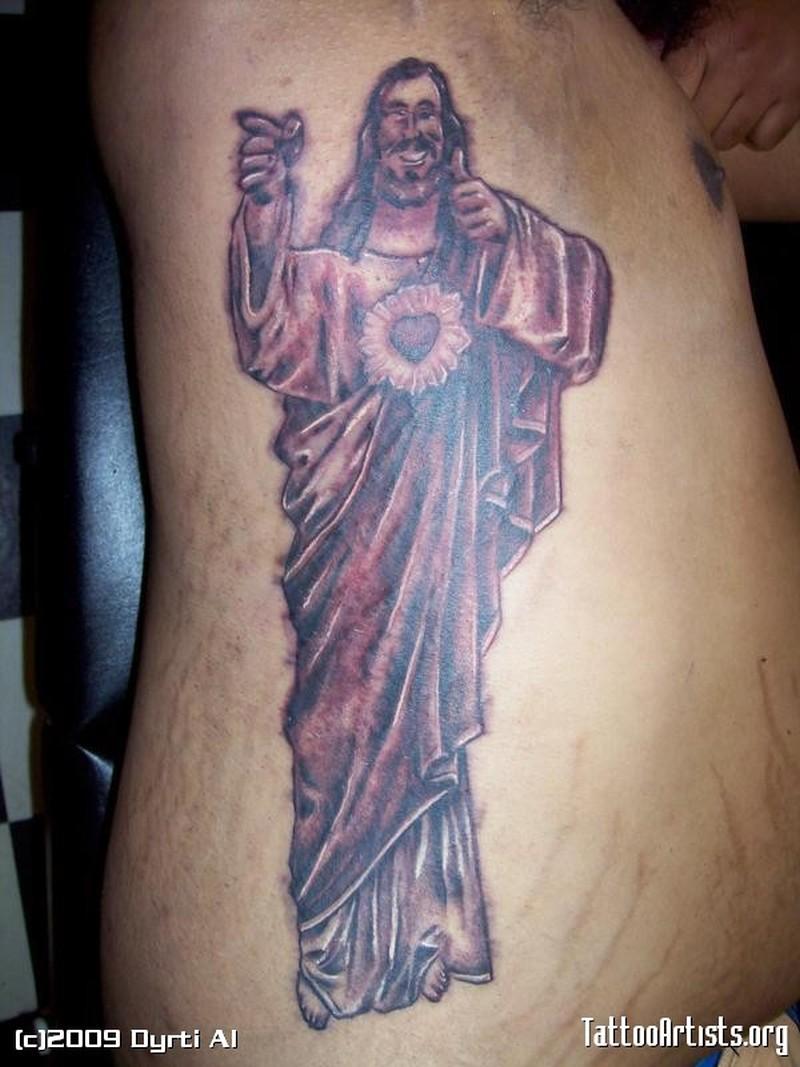 Standing jesus tattoo on rib side