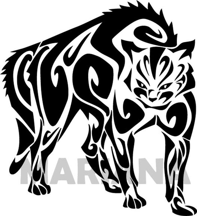 Standing tribal cat tattoo design