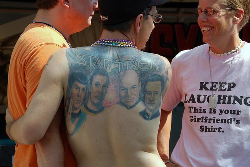 Star trek geek tattoo on upper back