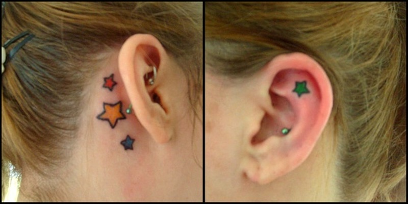 Stars ear tattoo design