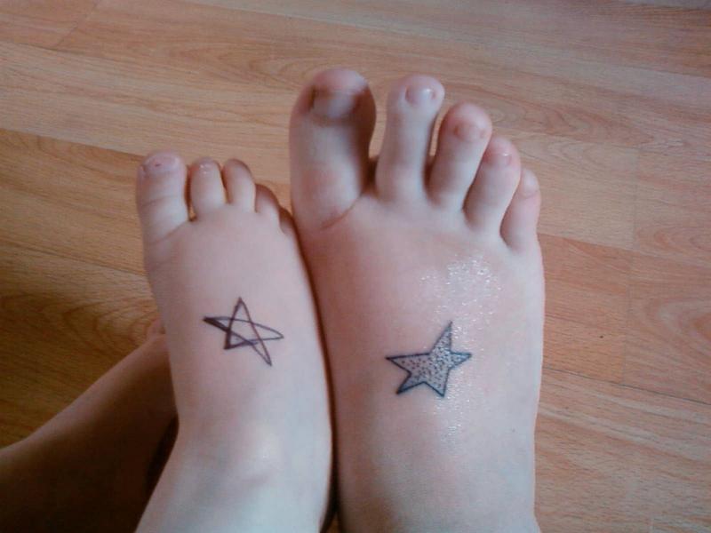Stars tattoo on feet