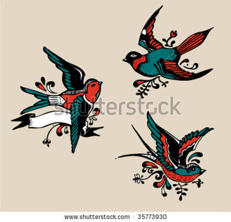Stock vector vintage birds tattoo design