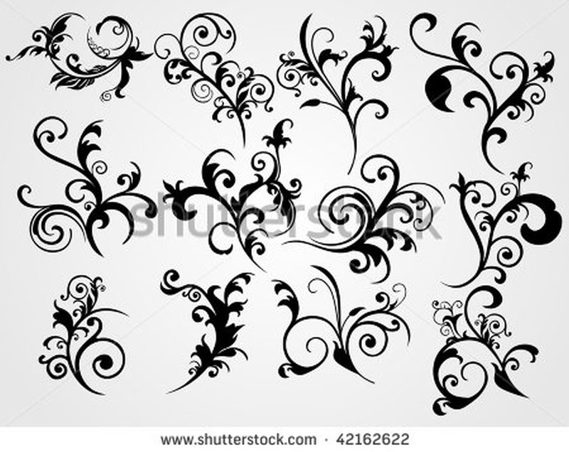 Stock vector white background with set of black floral pattern tattoo