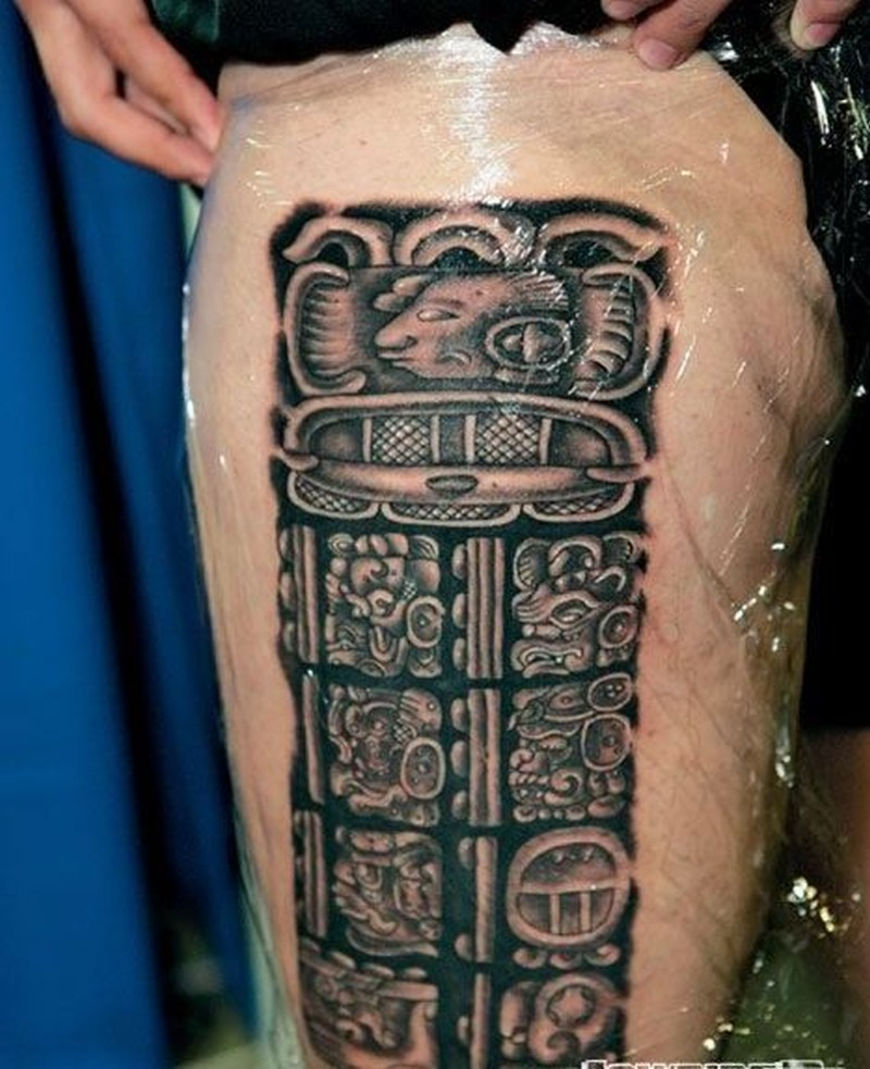 stone aztec hieroglyphics pre spanish culture tattoo on hip tattoos book. Black Bedroom Furniture Sets. Home Design Ideas