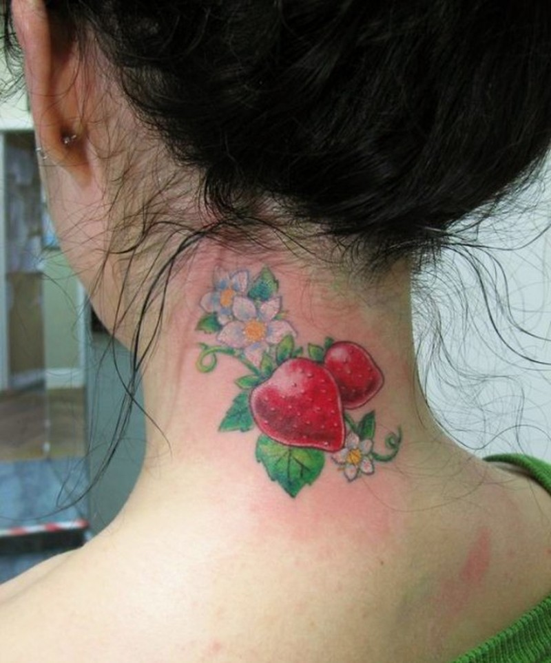 Strawberry tattoo for lovely neck