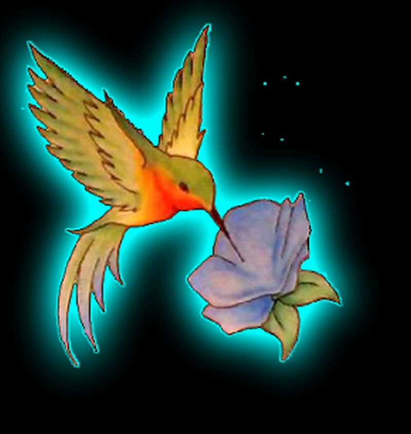 Stunning hummingbird n flower tattoo design