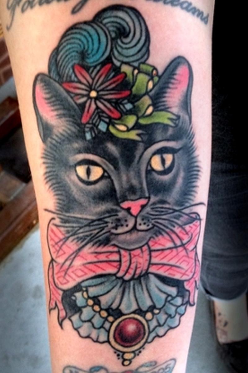 Stylish cat tattoo design