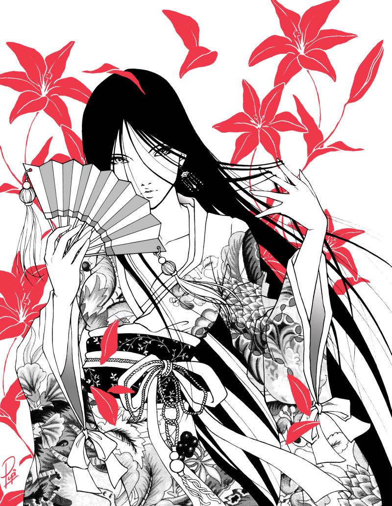 stylish geisha with japanese fan tattoo design tattoos book tattoos designs. Black Bedroom Furniture Sets. Home Design Ideas
