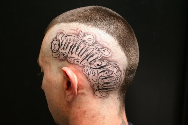 46198f62c30da Stylish wording tattoo on head - Tattoos Book - 65.000 Tattoos Designs