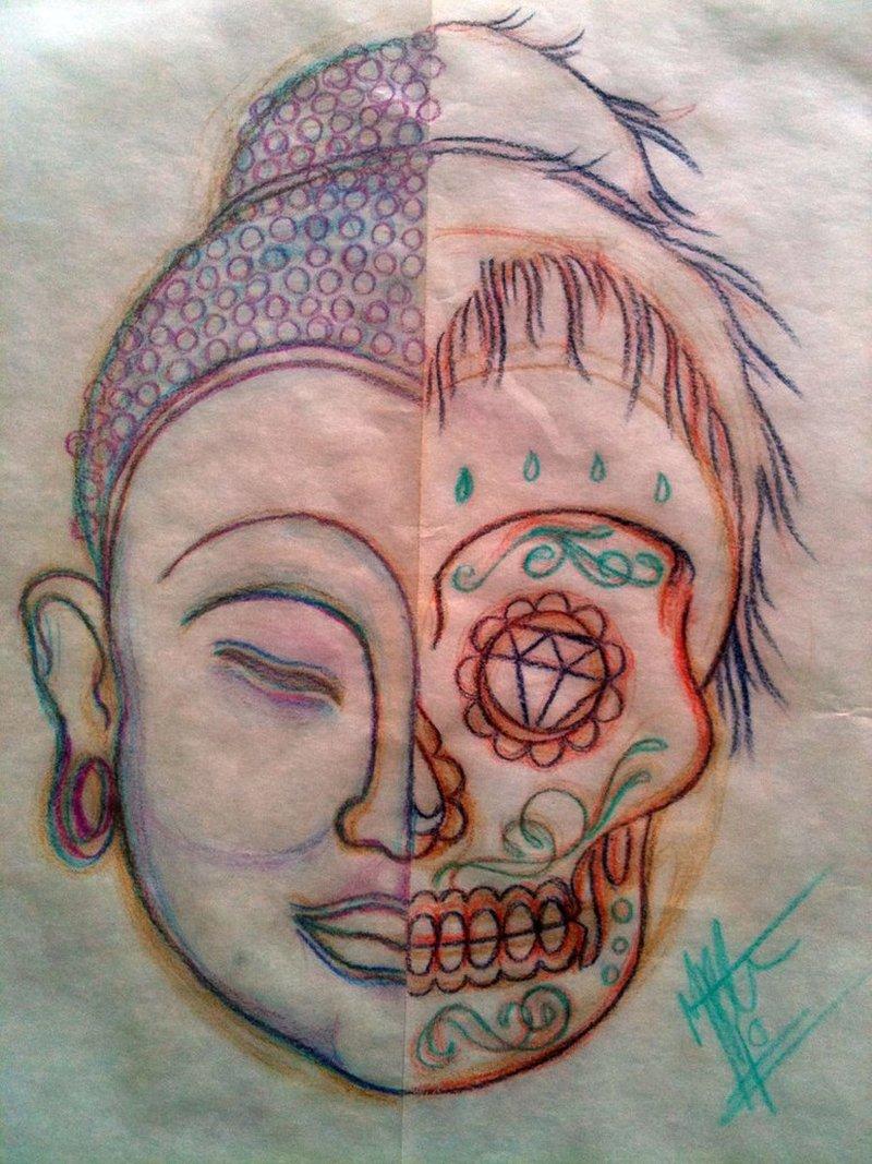 Sugar skull buddhist tattoo design