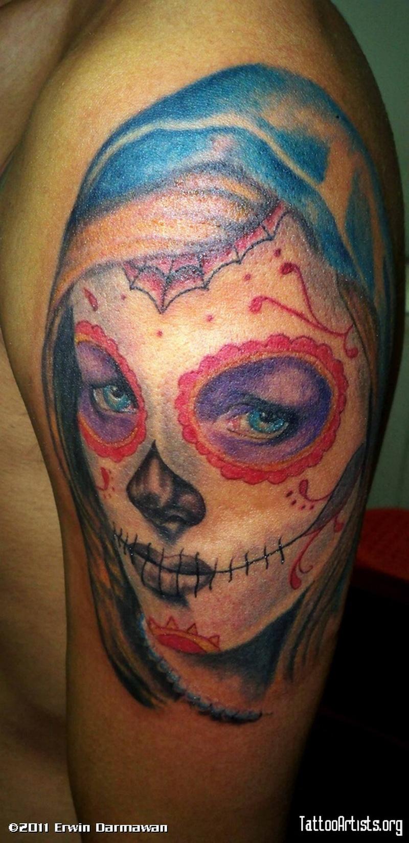 sugar skull face tattoo on shoulder tattoos book tattoos designs. Black Bedroom Furniture Sets. Home Design Ideas