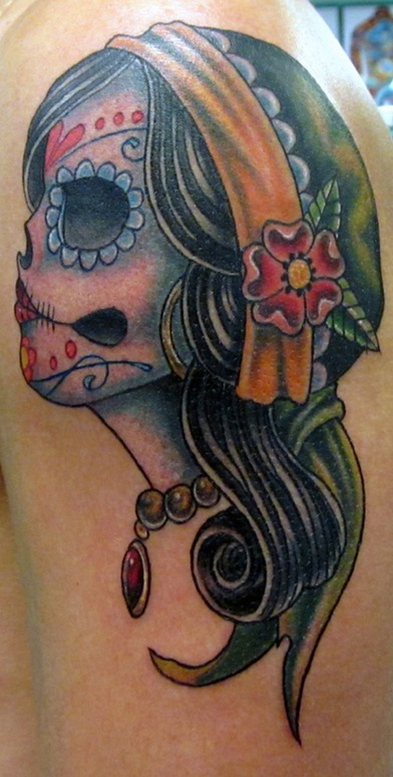Sugar skull gypsy tattoo design 3