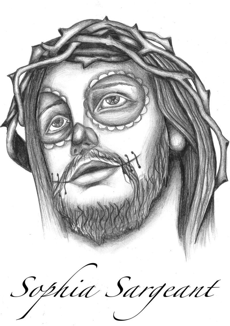 Sugar skull jesus tattoo design