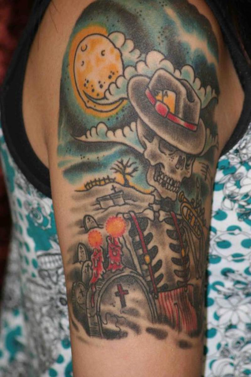 Cemetery and graveyard tattoo on half sleeve - Sun N Skull Graveyard Tattoo Design On Shoulder