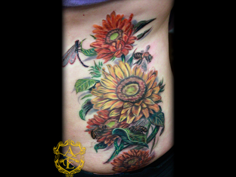 Sunflower bees with logo tattoo design