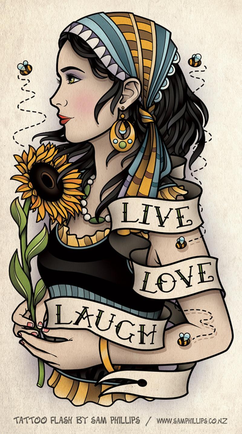 Sunflower bumble bee gypsy tattoo design