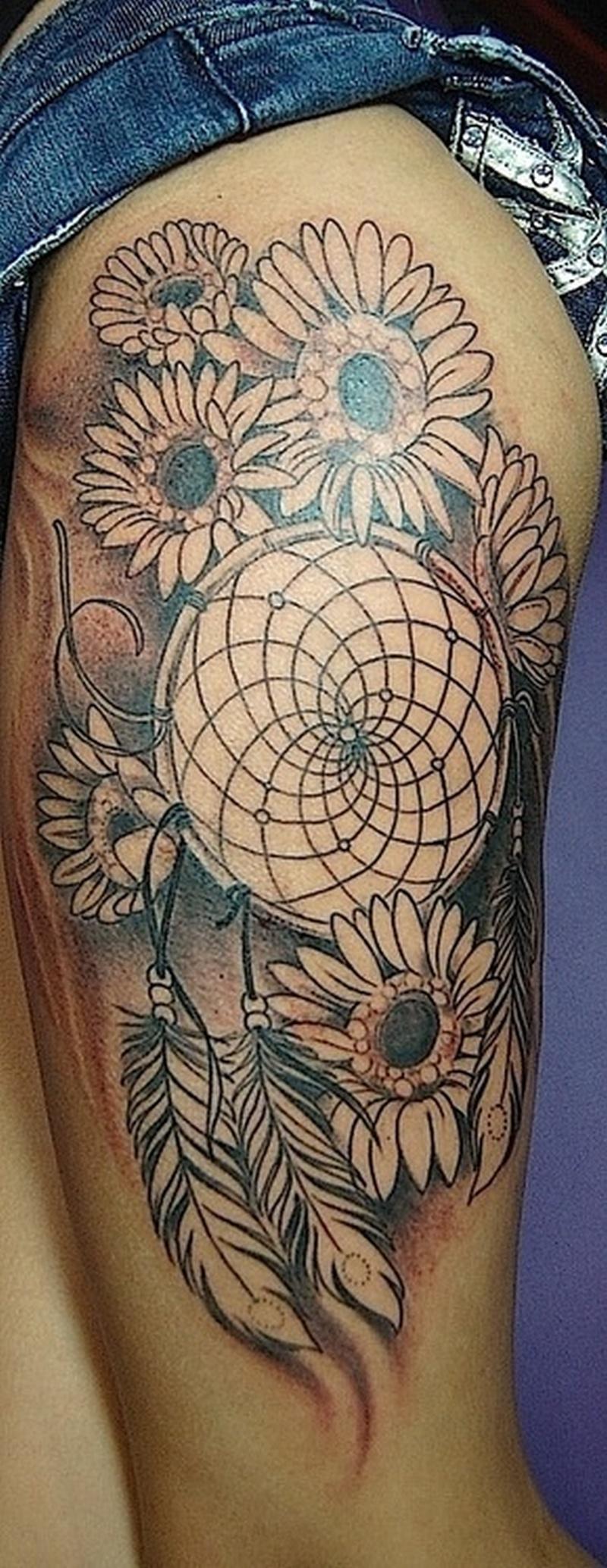 Sunflower n dream catcher tattoo design
