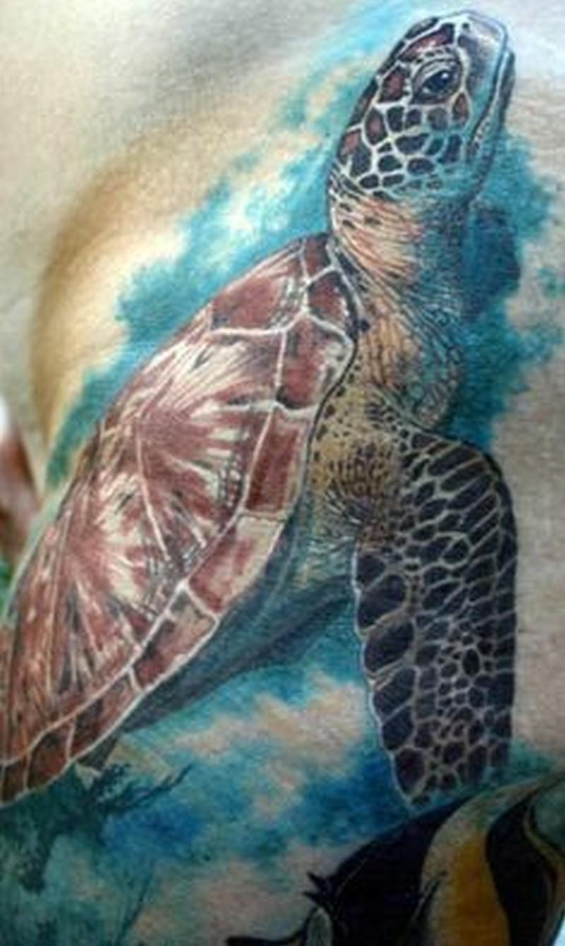 Super realistic watercolor sea turtle tattoo