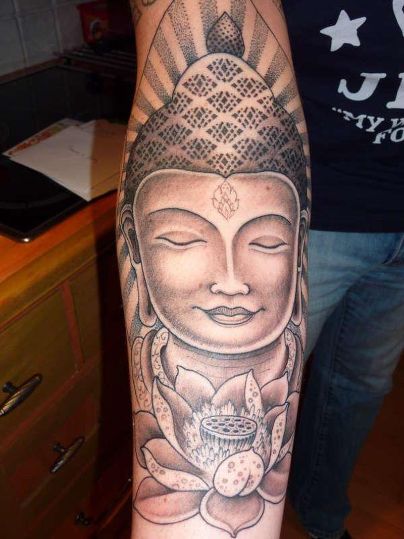 Superb buddha girl lotus tattoo
