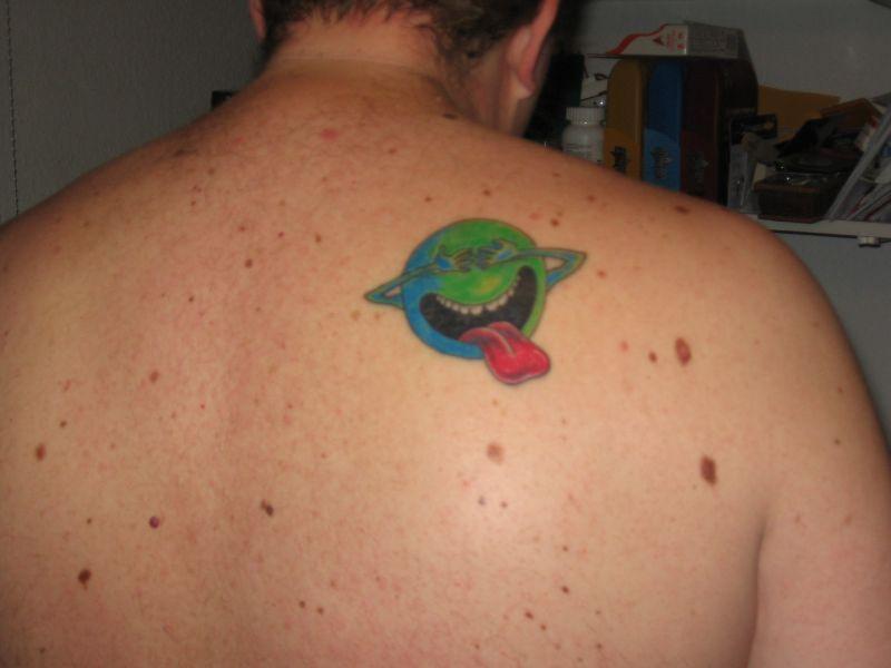 Superb geek tattoo on back shoulder