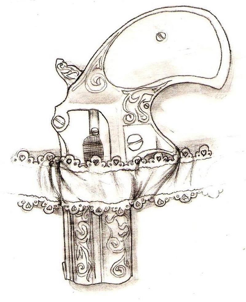 Superb gun n garter tattoo design