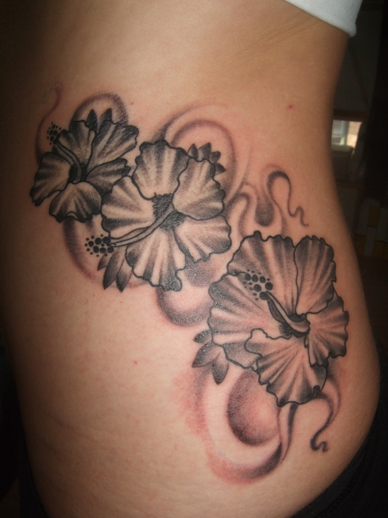 Superb hibiscus flower tattoo designs